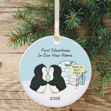First Christmas in a New Home Keepsake Decoration - Penguin Design